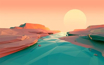 isometric landscape, river, cliffs, 3d landscapes, polygons