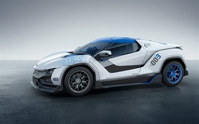 Tata TaMo Racemo, 2018, racing car, Indian sports cars, concepts, blue wheels, Tata