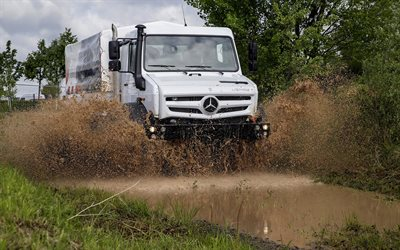 Mercedes-Benz Unimog U5000, 2018, all-terrain vehicle, truck, new white Unimog U5000, German trucks, Mercedes