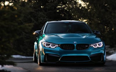 BMW M3, 2018, F80, blue sports coupe, front view, tuning m3, racing car, BMW