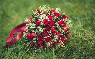 wedding bouquet, red roses, bridal bouquet, green grass
