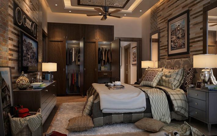 Scarica sfondi lussuosi interni di design, camera da letto ...