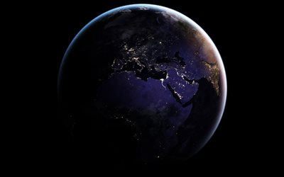 Earth at night from space, lights of cities, Europe, Africa, Mediterranean, Earth, planet