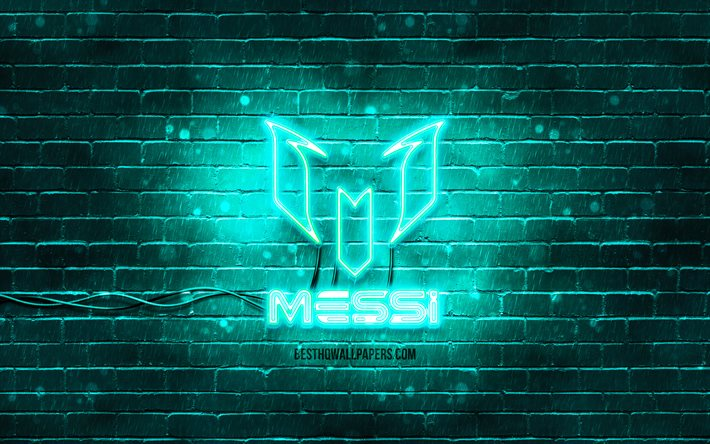 Lionel Messi turquoise logo, 4k, turquoise brickwall, Leo Messi, fan art, Lionel Messi logo, les stars du football, Lionel Messi néon logo, Lionel Messi