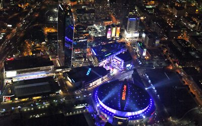 Staples Center, night, aerial view, sports complex, Los Angeles, Los Angeles Lakers stadium, Los Angeles Kings stadium, Los Angeles Clippers stadium, California, USA, NHL, NBA