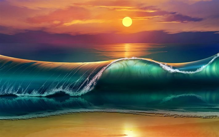 painted sea wave, art, painted sunset, painted sea landscape, summer, evening, sea, waves