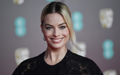 Margot Robbie, Australian actress, portrait, photoshoot, black dress, beautiful woman, smile, gray female eyes