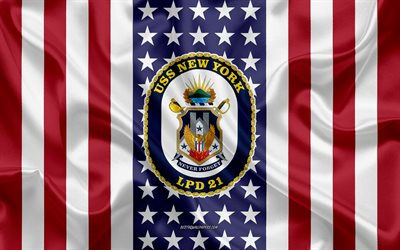 USS New York Emblem, LPD-21, American Flag, US Navy, USA, USS New York Badge, US warship, Emblem of the USS New York