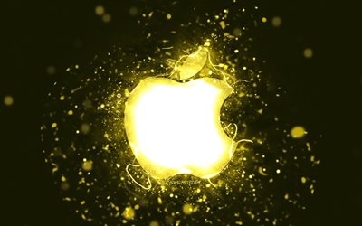 Apple yellow logo, 4k, yellow neon lights, creative, yellow abstract background, Apple logo, brands, Apple