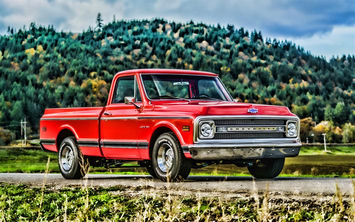 Herunterladen Hintergrundbild Chevrolet C10 Pickup Hdr 1970 Autos Straße Retro Autos 1970 Chevrolet C10 Pickup Roter Pickup American Cars Chevrolet Für Desktop Kostenlos Hintergrundbilder Für Ihren Desktop Kostenlos