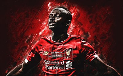 Sadio Mane, Liverpool FC, Senegalese football player, midfielder, portrait, red stone background, Premier League, Champions League, England, football
