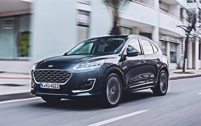 Ford Kuga Vignale EcoBlue Hybrid, 4k, street, 2020 cars, crossovers, EU-spec, 2020 Ford Kuga, american cars, Ford
