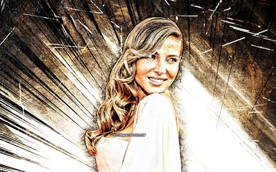 4k, Elsa Pataky, grunge art, spanish celebrity, movie stars, beauty, Elsa Lafuente Medianu, brown abstract rays, fan art, spanish actress, Elsa Pataky 4K