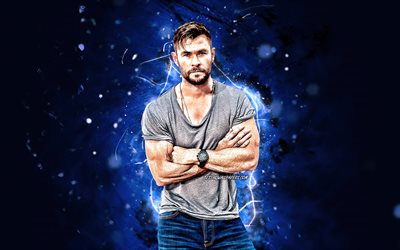 Chris Hemsworth, 4k, australian actor, movie stars, fan art, Christopher Hemsworth, australian celebrity, blue neon lights, creative, Chris Hemsworth 4K