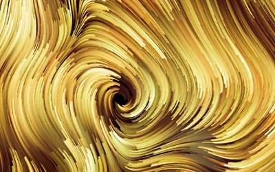 yellow vortex, 4k, abstract waves, creative, spiral, abstract vortex, 3D art, vortex, fractals, yellow abstract background