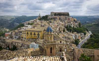 Ragusa, Panorama of Ragusa Ibla, old town, Cathedral of San Giorgio, Church of the Souls of Purgatory, cityscape, Ragusa skyline, Sicily, Italy