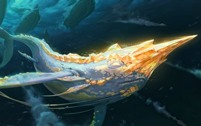 Golden Narwhal, MOBA, whale, League of Legends, 2020 games, Legends of Runeterra, artwork, Golden Narwhal League of Legends