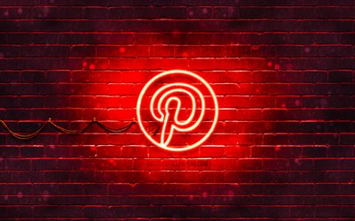 Pinterest red logo, 4k, red brickwall, Pinterest logo, social networks, Pinterest neon logo, Pinterest