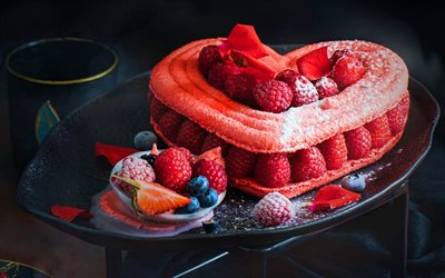 raspberry pie, sweet pastries, macro, raspberries, heart-shaped pie, raspberry cake, love concepts