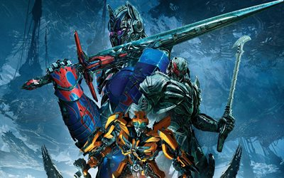 Transformers The Last Knight, 2017 movie, poster, Bumblebee, Megatron, Optimus prime