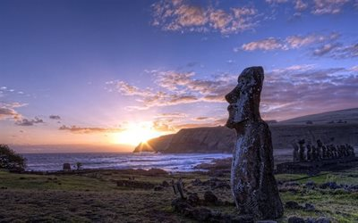 Easter Island, sunset, Rapa-noi, polynesian triangle, Chile