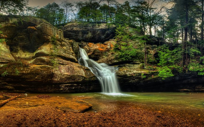 Transport Cars State To State >> Download wallpapers Hocking Hills State Park, HDR, forest, America, waterfalls, USA for desktop ...