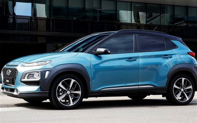 Hyundai Kona, 2018 cars, crossovers, blue Kona, korean cars, Hyundai