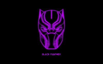 Black Panther, purple neon emblem, logo, creative art, superhero