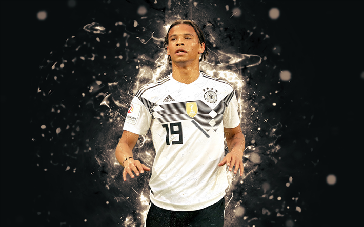 Download Wallpapers 4k, Leroy Sane, Abstract Art, Germany