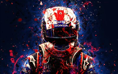 4k, Pierre Gasly, abstrakti taide, Formula 1, F1, Toro Rosso 2018, Red Bull, Toro Rosso, Gasly, neon valot, Formula