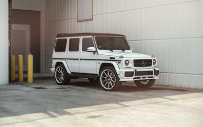 Mercedes-Benz G63 AMG, 2018, White G-Class, white SUV, tuning, new white G63, German cars, W463, Mercedes