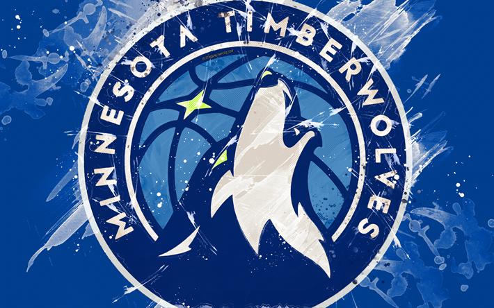 Download Wallpapers Minnesota Timberwolves 4k Grunge Art Logo