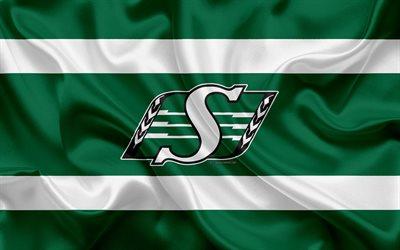 Download wallpapers Saskatchewan Roughriders 4k logo silk texture Canadian football team