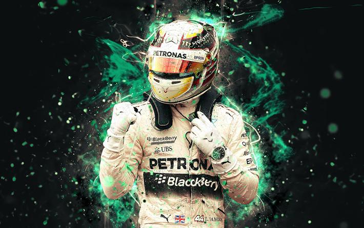 Download Wallpapers 4k Lewis Hamilton Abstract Art Formula 1 F1 Mercedes F1 2018 Mercedes Amg Petronas Hamilton Neon Lights Lh44 Formula One Mercedes F1 For Desktop Free Pictures For Desktop Free