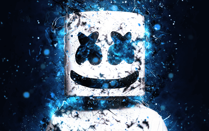 Download Wallpapers Dj Marshmello 4k Blue Neon Dj