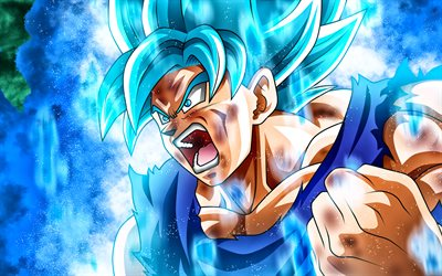 4k, Super Saiyan Blue, warrior, Dragon Ball Super, fighter, DBS, manga, Dragon Ball, Goku