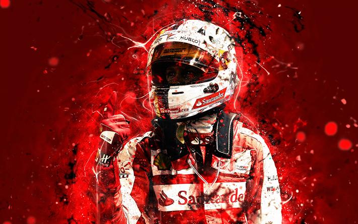Download Wallpapers 4k Sebastian Vettel Abstract Art Formula 1 F1 Ferrari 2018 Scuderia Ferrari Vettel Neon Lights Formula One Ferrari F1 For Desktop Free Pictures For Desktop Free