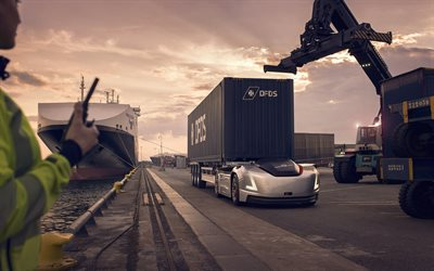 Volvo Vera, 2019, unmanned cargo electric vehicle, electric truck, container shipping, sea port, shipping concepts, Volvo Trucks