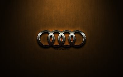 Audi glitter logo, cars brands, creative, bronze metal background, Audi logo, brands, Audi