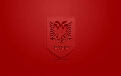 Albania national football team, creative 3D logo, red background, 3d emblem, Albania, Europe, UEFA, 3d art, football, stylish 3d logo