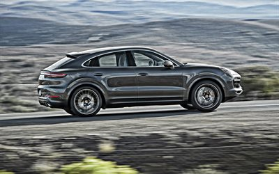 Porsche Cayenne, 2019, side view, exterior, new gray Cayenne, german cars, Porsche
