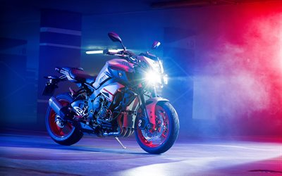 Yamaha MT-10, night, 2019 bikes, smoke, superbikes, 2019 Yamaha MT-10, japanese motorcycles, Yamaha