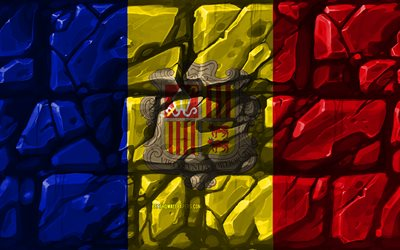 Andorran flag, brickwall, 4k, European countries, national symbols, Flag of Andorra, creative, Andorra, Europe, Andorra 3D flag