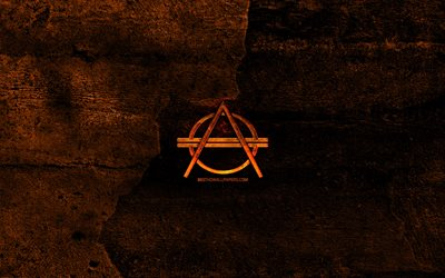 Don Diablo fiery logo, music stars, orange stone background, Don Diablo, creative, Don Diablo logo, brands