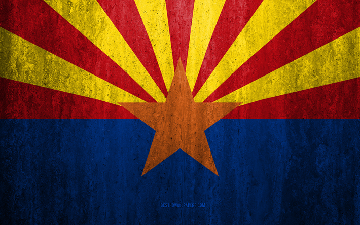 Download Wallpapers Flag Of Arizona 4k Stone Background
