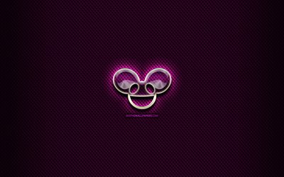 Deadmau5 glass logo, purple background, music stars, artwork, superstars, Deadmau5 logo, creative, Deadmau5