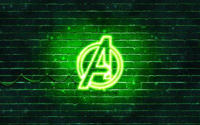 Download Wallpapers Avengers Green Logo 4k Green Brickwall Avengers Logo Superheroes Avengers Neon Logo Avengers For Desktop Free Pictures For Desktop Free