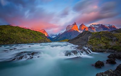 Torres del Paine National Park, evening, Andes, mountain landscape, mountain river, Patagonia, Magallanes Region, Chile