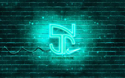 Neymar Jr turquoise logo, 4k, Neymar new logo, turquoise brickwall, Neymar Jr, fan art, Neymar Jr logo, football stars, Neymar Jr neon logo, Neymar da Silva Santos Junior