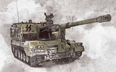 PLZ-05, Type 05, grunge art, creative art, painted PLZ-05, drawing, PLZ-05 grunge, digital art, 155 mm self-propelled howitzer
